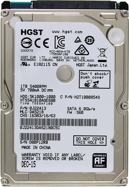 Жесткий диск для ноутбука HDD 1 Tb SATA 6Gb / s HGST Travelstar 5K1000 &ltHTS541010A9E680&gt 2.5&quot 5400rpm 8Mb