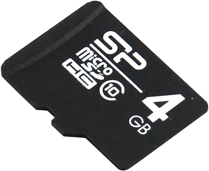 SD карта Silicon Power < SP004GBSTH010V10 > microSDHC Memory Card 4Gb Class10