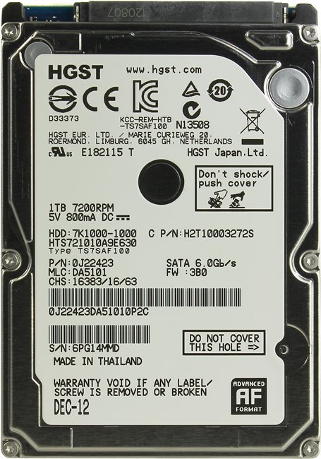 Жесткий диск для ноутбука HDD 1 Tb SATA 6Gb / s HGST Travelstar 7K1000 &ltHTS721010A9E630&gt 2.5&quot 7200rpm 32Mb