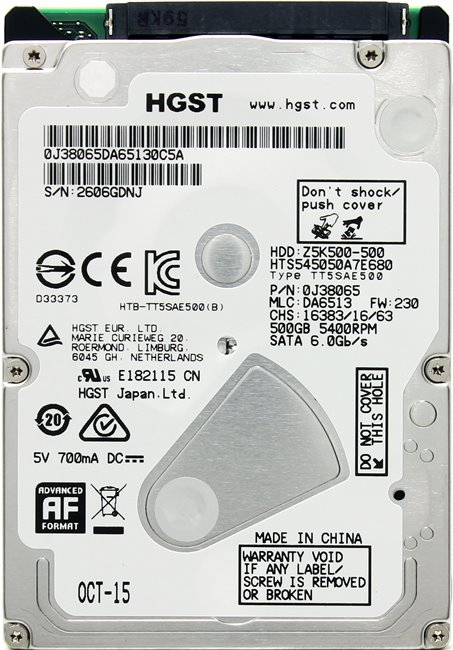 Жесткий диск для ноутбука HDD 500 Gb SATA 6Gb / s HGST Travelstar Z5K500 &ltHTS545050A7E680&gt 2.5&quot 5400rpm 8Mb