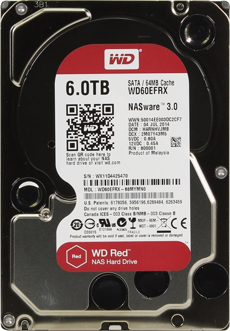"Жесткий диск HDD 6 Tb SATA 6Gb / s Western Digital Red < WD60EFRX > 3.5"" 5400rpm 64Mb"