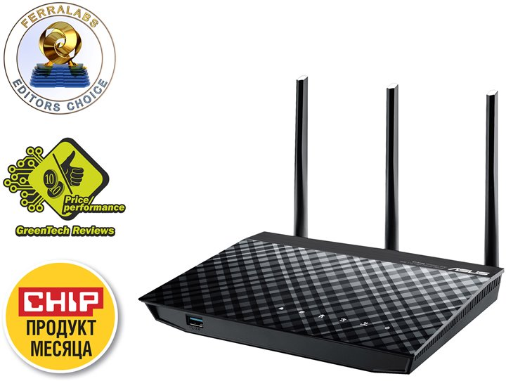 Роутер WiFi (маршрутизатор) ASUS < RT-N18U > High Power Router (4UTP 10 / 100 / 1000Mbps, 1WAN, 802.11b / g / n, 600Mbps, USB2.0+USB3.0)