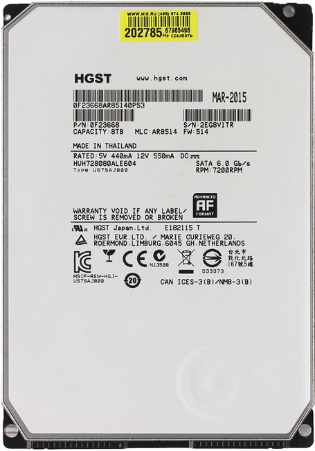 "Жесткий диск HDD 8 Tb SATA 6Gb / s HGST Ultrastar He8 < HUH728080ALE604 > 3.5"" 7200rpm 128Mb"