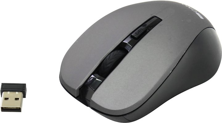 Мышь CANYON Wireless Optical Mouse < CNE-CMSW1G > Gray (RTL) USB 4btn+Roll