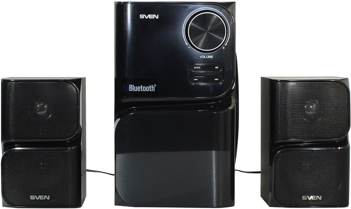 Колонки SVEN MS-305 Black (2x10W+Subwoofer 20W, дерево, Bluetooth, SD, USB, FM, ПДУ)