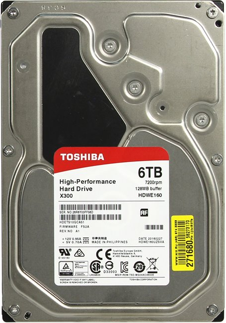 "Жесткий диск HDD 6 Tb SATA 6Gb / s Toshiba X300 < HDWE160UZSVA > 3.5"" 7200rpm 128Mb"