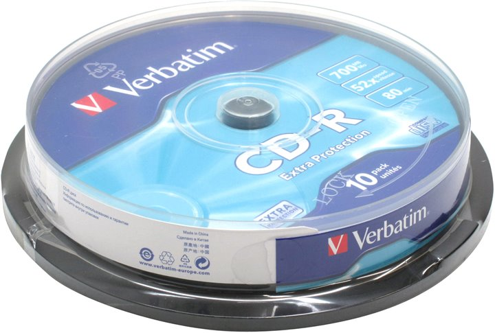 Диск CD-R CD-R Verbatim 700Mb 52x sp. < уп.10 шт > на шпинделе < 43437 >