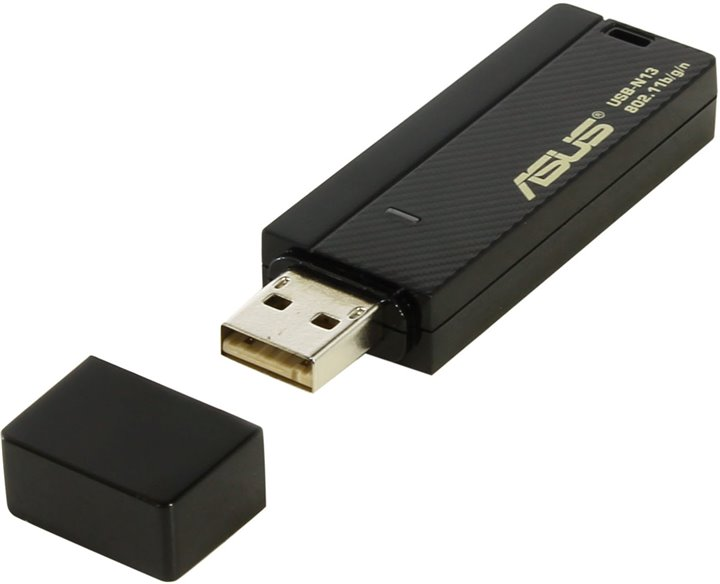 Адаптер WiFi ASUS USB-N13 Wireless N USB Adapter (RTL) (802.11n / g / b, 300Mbps)