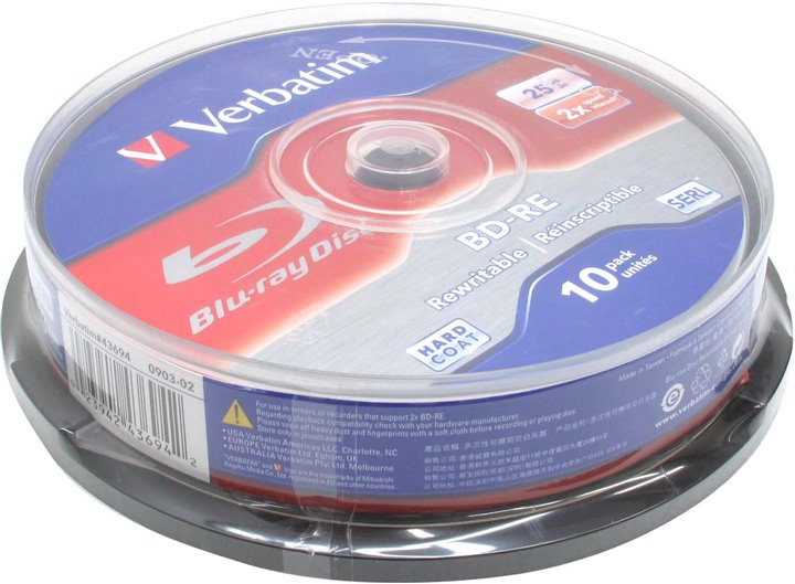 Диск BD-RE BD-RE Disc Verbatim 25Gb 2x < уп.10 шт > на шпинделе < 43694 >